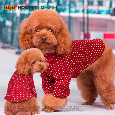 Retro dot bottoming shirt Teddy Bichon puppy dog ??clothes dress feet warm winter pet apparel