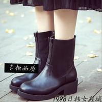 2015秋冬加绒中跟粗跟短靴欧美复古风侧拉链圆头马丁靴厚底短筒靴
