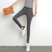 2016秋季新款排扣高腰黑色牛仔裤女学生显瘦韩版大码弹力小脚长裤