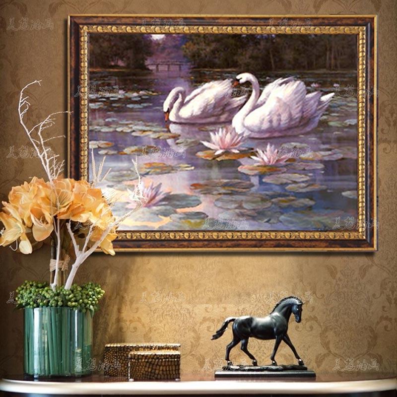 正品打折欧式油画客厅装饰画简欧餐厅有框画手绘卧室