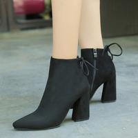 2016春款粗跟绒面女黑色工作鞋欧美浅口女鞋OL气质尖头超高跟单鞋
