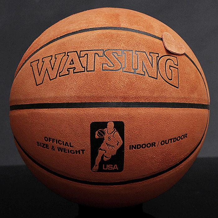 WITESS/威特斯翻毛加厚镂空纯黄牛皮篮球真皮室内户外篮球买一送8
