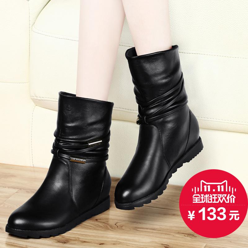 古奇天伦秋冬新款马丁靴短靴平底内增高女靴欧美棉鞋雪地冬靴子潮图片