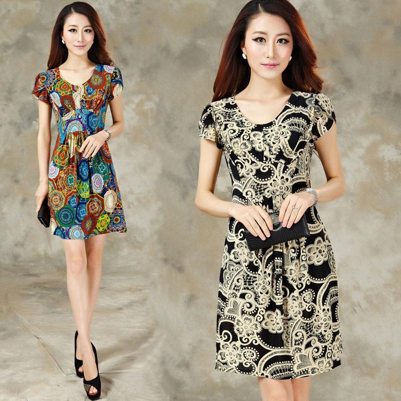2014夏装新款品牌女装正品韩版修身显瘦大码真丝雪纺短袖连衣裙女图片