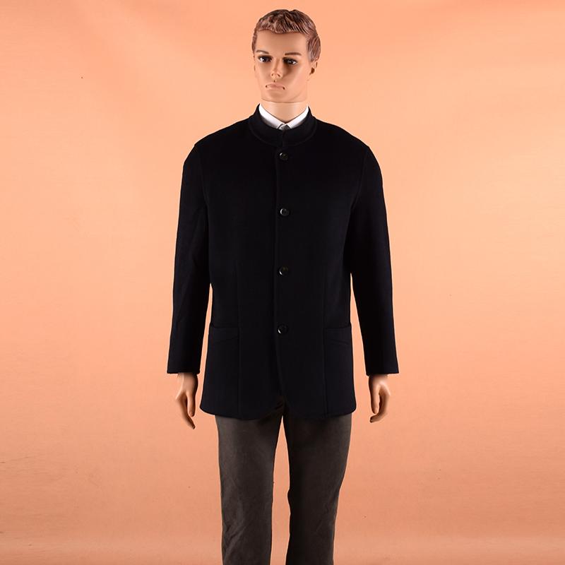 鄂尔多斯市男士羊绒双面呢大衣秋冬中长款毛呢外套立领商务男装