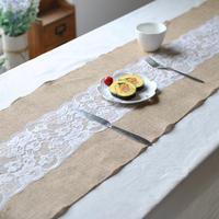 蕾丝黄麻布桌旗 西式草坪婚礼装饰黄麻婚庆用品 多尺寸