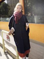 2015冬季韩版毛呢大衣单排扣学院风加厚中长款茧型毛呢外套女韩范
