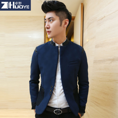 Zhuo Men Korean winter dark blue leisure suit Slim British tide men's suits students tunic jacket