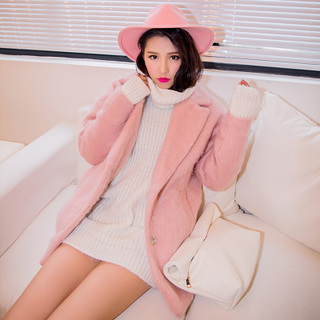 QUEENZZ European wind-fall/winter 2014 new oversize cocoon style loose thickened fur coat #