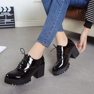 2017春季亮皮高跟厚底防水台英伦女鞋粗跟单鞋黑色小皮鞋