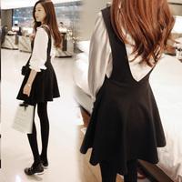 2015韩版女装新款圆领背 小清新真两件套背带连衣裙 6514#