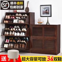 家逸 简约现代鞋柜实木翻斗大容量多层鞋柜玄关超薄门厅柜储物柜