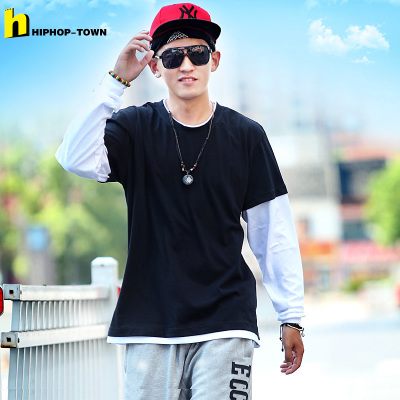 Hip Hop authentic town | cotton long-sleeved t-shirt hip-hop plus fertilizer XL solid stitching fake two men autumn