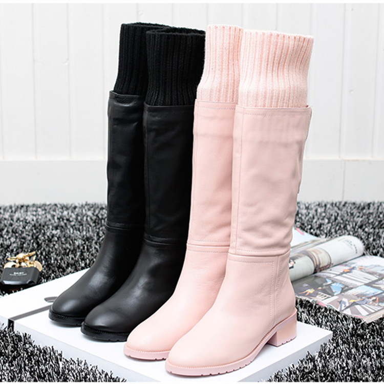 2014 new winter boots in Europe and America long single leather boots high boots women boots wool boots European stations