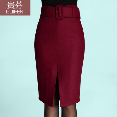 2014 winter new fashion A-line skirt hem skirts slit cultivating wild child fall and winter woolen skirt