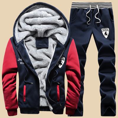 Young students new winter sports suit men's casual pants plus thick velvet pants men long pants knit Wei