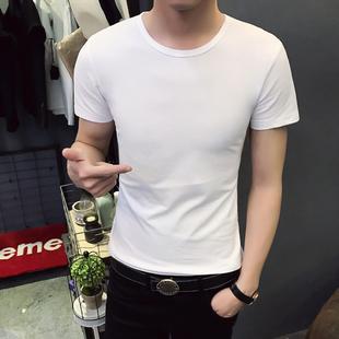夏季男装黑白色短袖t恤白色纯色修身韩版圆领上衣服半袖男夏潮流