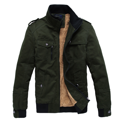 Men's casual clothes padded jacket Slim short coltsfoot plus velvet coat tide Korean men's jackets 2014 Military