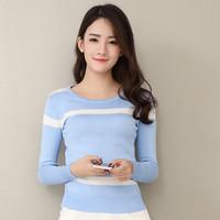 实拍2016新款韩版条纹拼接长袖修身T恤打底衫针织衫毛衣女