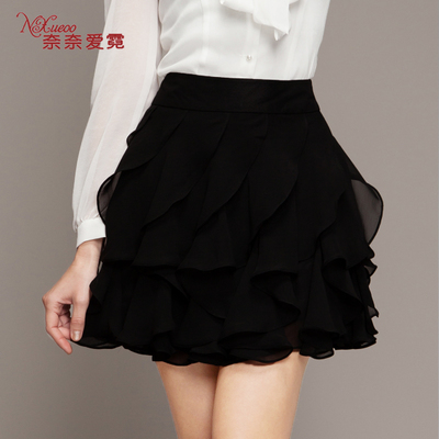 2014 new women's autumn and winter base skirt waist chiffon skirt tutu skirts Spring solid skirt