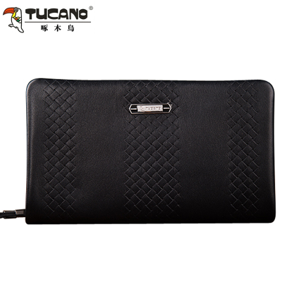 Woodpecker new men's business casual fashion woven leather clutch purse handbag counter genuine