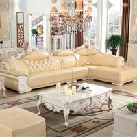 简约欧式真皮沙发L组合奢华中厚牛皮转角小户型客厅住宅家具包邮