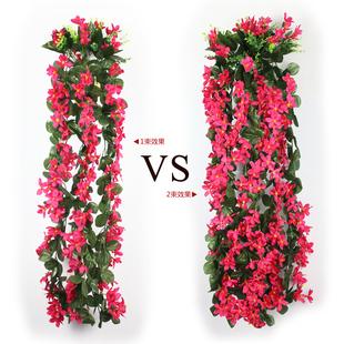 爆款紫罗兰仿真花假花绢花挂壁花艺 墙壁装饰花藤 壁挂吊兰塑料花