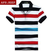 战地吉普 短袖T恤 男2015翻领条纹T恤衫AFS JEEP专柜正品宽松大码