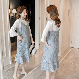 2018孕妇春装连衣裙大码吊带花瓣鱼尾蕾丝长裙怀孕期秋季两件套装