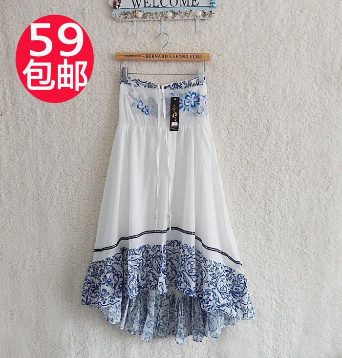 2014夏季新品民族风刺绣复古长裙韩版系带大摆裙不规则拼接半身裙