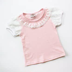 2014夏装女小童短袖全棉T恤蕾丝边圆领泡泡袖宝宝上衣打底衫