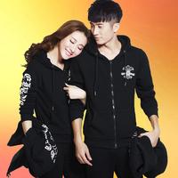 2016入秋保暖韩版新款男女卫衣三件套加绒加厚运动服全棉情侣装运