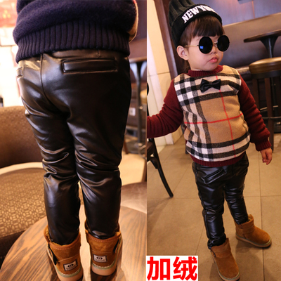 2014 winter new Korean fashion wild child leather pants for boys and girls in leather pants, boots, pants children's children Slim