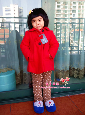 Foreign trade CATMIKO Kids girl children red coat winter clothing children's clothing woolen cloth coat bowknot dolls