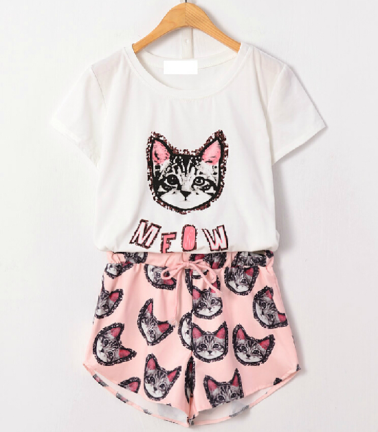 Special! 2014 summer new Korean star who kitty cute meow letters T shirt + elastic waist casual pants suit
