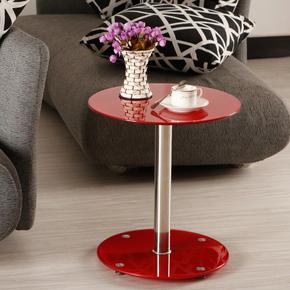 【特价猫】简约钢化玻璃茶几圆形桌子沙发边几角几电话几小圆桌