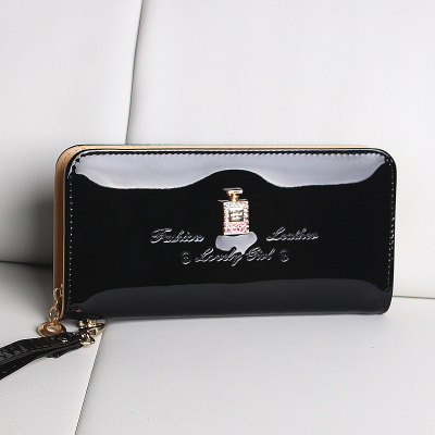 2014 new summer women's glossy shiny patent leather wallet Korean Ms. Long zipper bag Clutch