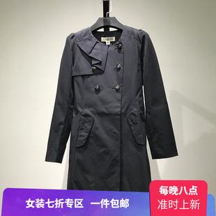 灵秋季品牌女装断码荷叶边长款风衣反季