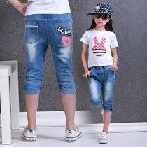 儿童牛仔裤女童牛仔七分裤女童夏装薄款沙滩裤童装裤子夏款中裤