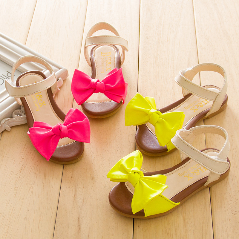 2014 summer new Korean bow sandals children shoes, open-toed shoes, fish head baby girls princess shoes tide
