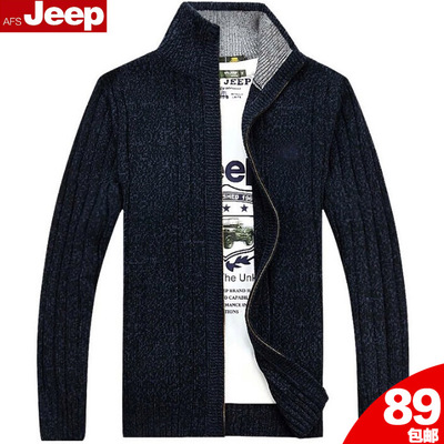 AFS JEEP Battlefield Jeep collar cardigan sweater men's sweater thick genuine men loose blended