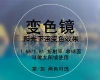 艾伦光致变色镜片 1.56加硬加绿膜树脂近视镜片非球面防辐射疲劳