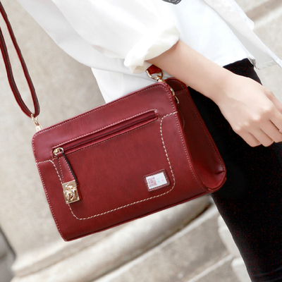 Sony Ericsson new Messenger bag Korean tidal burgundy small square bag retro messenger bags fashion shoulder bag