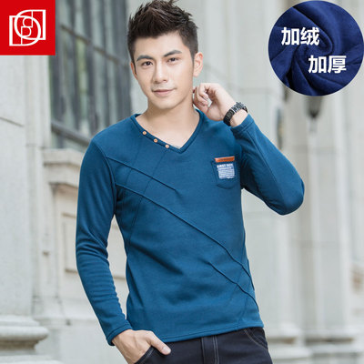 Daord warm winter plus thick velvet long-sleeved t-shirt tide male solid color Slim casual men's V-neck shirt bottoming