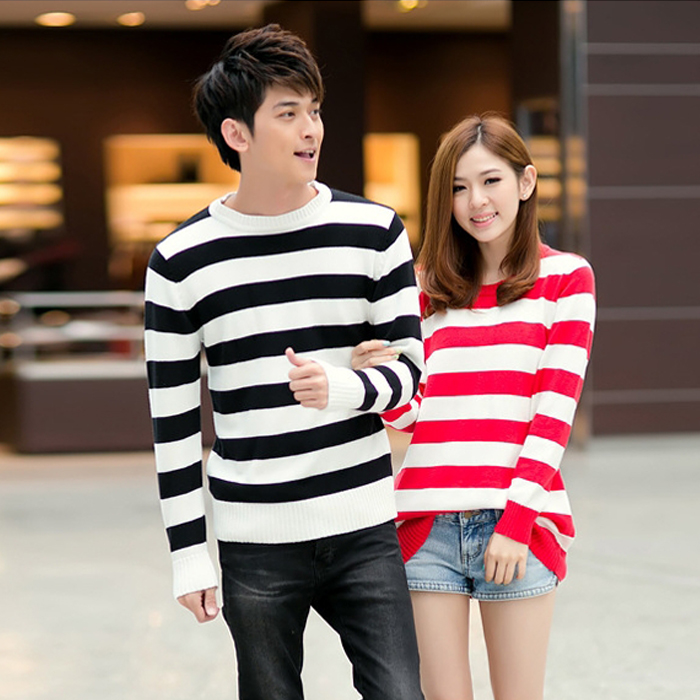2014 Winter new Korean version of the simple red and white striped sweater long section hedging sweater lovers female