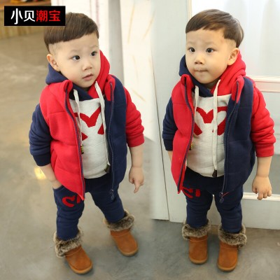 1-2-3 half years old baby sweater winter 2014 new children's clothing boys three-piece suit for children plus thick velvet