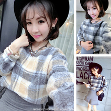 2014 new winter flower-pot South Korea temperament contracted casual smart grid printing fluffy coat