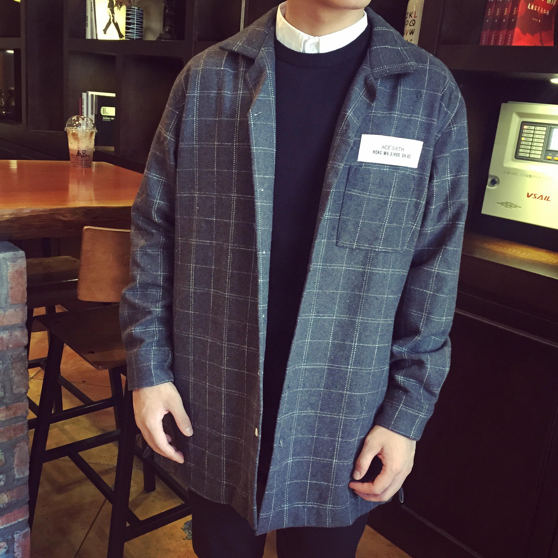 【FKGD大赖】秋款新品 青少年韩版欧美英伦风 长款格子外套大衣男