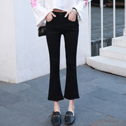 2020春秋季黑色牛仔裤女士九分裤高腰显瘦韩版修身微喇叭裤子