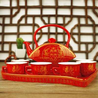 Zhe Xi Shun wedding gift ideas wedding suits festive gift ceramic tea set Chinese red glaze teapot